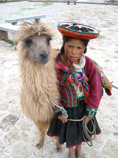 A_Quechua_girl_and_her_Llama